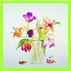 Flower Prints Tulips with Falling Petals