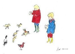 Greeting Card Children with Birds