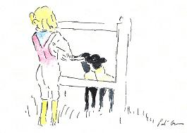 greeting card - Girl with Lambs